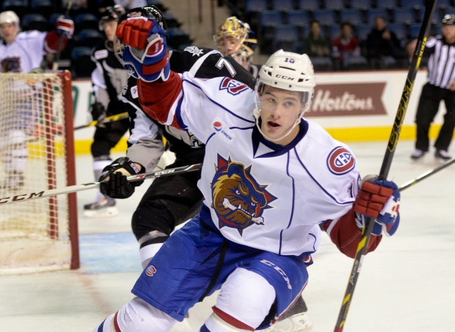 Hamilton. Ontario, Saturday, October 25,2014 - Hamilton Bulldogs vs. San Antonio Rampage, AHL action at First Ontario Centre Saturday night. Charles Hudon celebrates a first period goal. Photo by: Barry Gray, The Hamilton Spectator. For story by: Teri Pecoskie