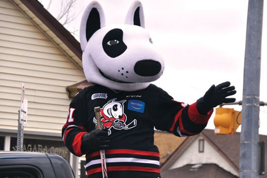 Niagara IceDogs mascot Bones waves to fans and parade goers during the Niagara Falls Santa Claus Parade on Nov. 14. Scott Rosts/Staff Photo